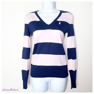 RALP LAUREN SPORT | Pink&navy blue stripe sweater
